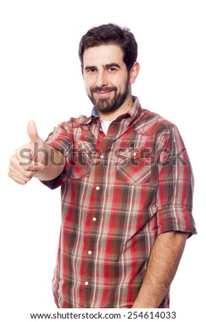 Handsome casual man giving thumbs up sign, isolated on white background - stock photo