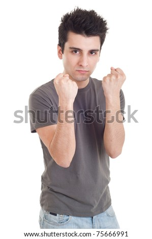 handsome casual man with fight expression isolated on white background - stock photo