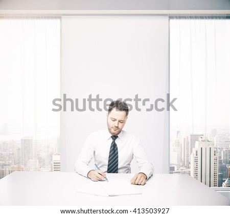 Handsome caucasian businessman sitting at desk in office with windows and New York city view. 3D Rendering - stock photo