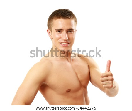 Handsome caucasian male  giving thumb up isolated on white - stock photo