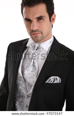 Handsome caucasian man in tuxedo - stock photo