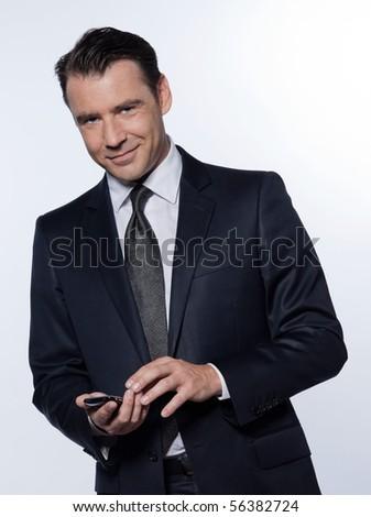 handsome caucasian man portrait isolated studio on white backgroun - stock photo