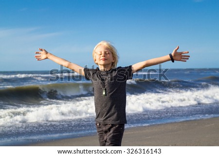 Handsome child at beach, arms outstretched in freedom concept - stock photo