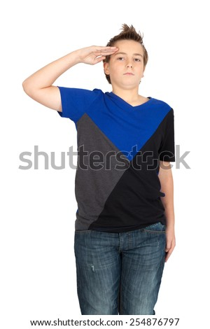 Handsome child doing different expressions in different sets of clothes: at attention - stock photo