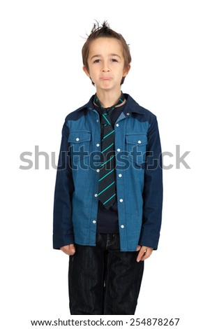 Handsome child doing different expressions in different sets of clothes: joy - stock photo