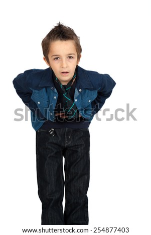 Handsome child doing different expressions in different sets of clothes: stomachache - stock photo