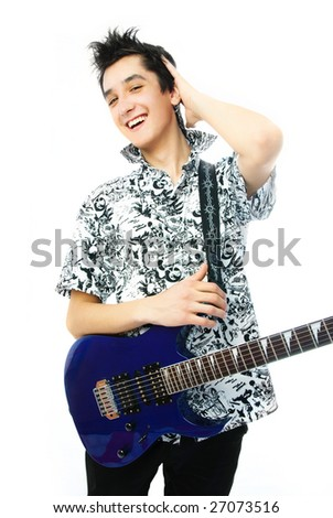 handsome confident young man with a guitar against white background - stock photo