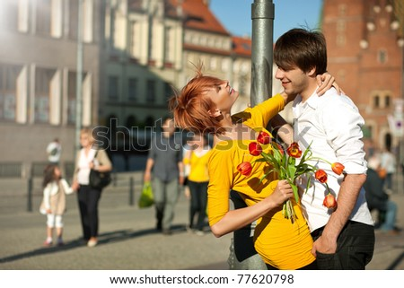 Handsome couple on a date - stock photo