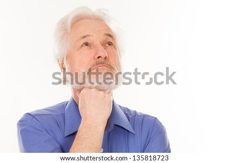 Handsome elderly man with gray beard thoughtful isolated over white background - stock photo