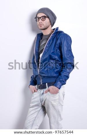 handsome elegant young fashion man on white background - stock photo