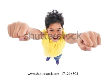 handsome excited man happy smile hold arm hands fist raised up gesture, top angle full length portrait, - stock photo