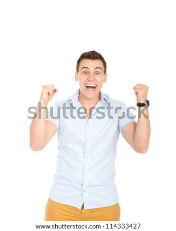 handsome excited man happy smile looking at camera, hold arm hands fist raised up gesture, young guy wear shirt, white teeth, isolated over white background - stock photo
