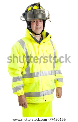 Handsome fire fighter isolated on white background. - stock photo