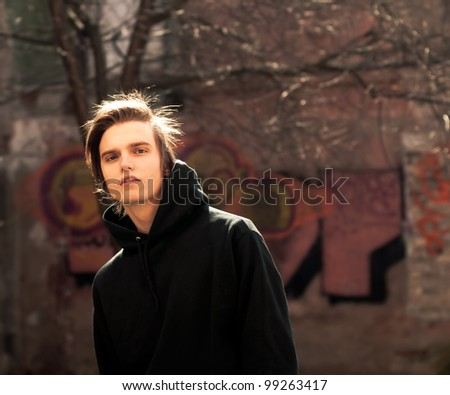 handsome guy in town - stock photo