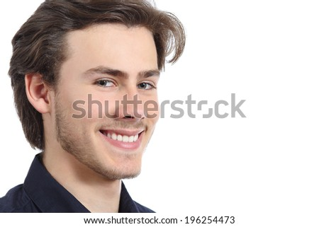 Handsome happy man with a perfect white smile isolated on a white background           - stock photo
