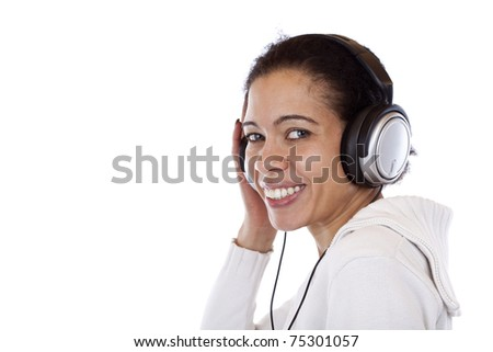 Handsome, happy smiling woman with headphones relax with music. Isolated on white background. - stock photo