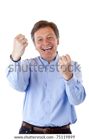 Handsome, healthy pensioner cheering happy with clenched fists. Isolated on white background. - stock photo