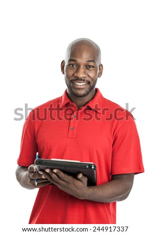 Handsome late 20s black man camp director holding a clipboard isolated on a white background - stock photo