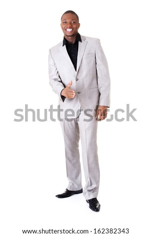 Handsome male businessman standing. Isolated on white.  - stock photo
