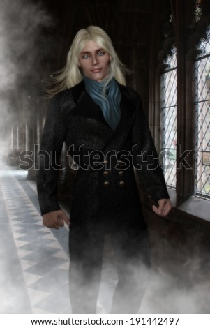 Handsome male character with steel blue eyes and long blonde hair.  Wearing a  Victorian double breasted Jacket and blue scarf  walking down a hallway of mist and old Victorian windows.  - stock photo