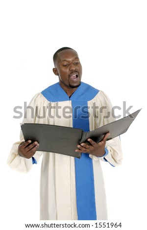Handsome male church choir member in choir robe holding a music folder and singing.  Isolated on white. - stock photo