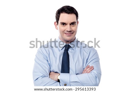 Handsome male executive posing with confidence over white - stock photo