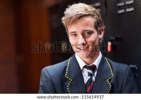 handsome male high school student portrait - stock photo