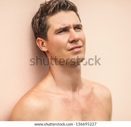 Handsome male model. - stock photo