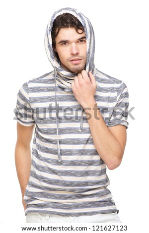 Handsome male model with striped hooded sweatshirt. Isolated on white background - stock photo