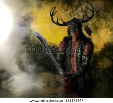 Handsome male warrior elf character wearing an antler helmet holding a sword in the fiery forest. - stock photo