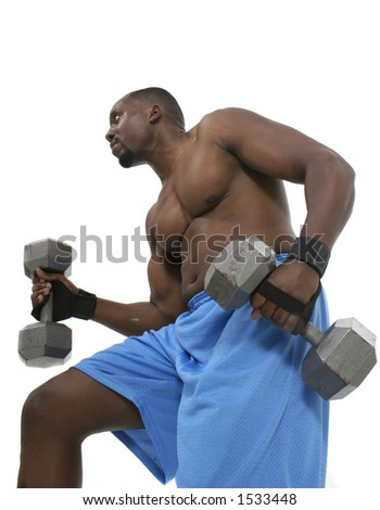 Handsome male with bulging muscles lifting weights. - stock photo