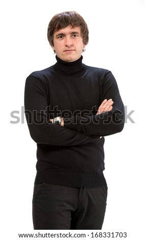 Handsome Man  Casually Dressed Against White Background - stock photo