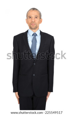 Handsome man doing different expressions in different sets of clothes: at attention - stock photo