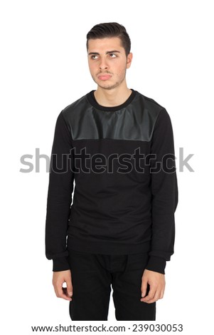 Handsome man doing different expressions in different sets of clothes: bored - stock photo