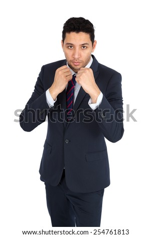 Handsome man doing different expressions in different sets of clothes: boxe - stock photo
