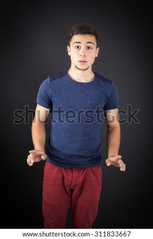 Handsome man doing different expressions in different sets of clothes: innocent - stock photo