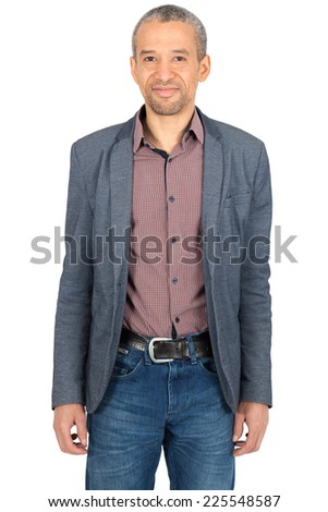 Handsome man doing different expressions in different sets of clothes: portrait - stock photo