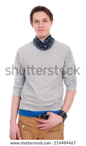 Handsome man in bandana on neck isolated on a white - stock photo