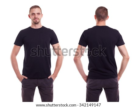 Handsome man in black t-shirt on white background - stock photo