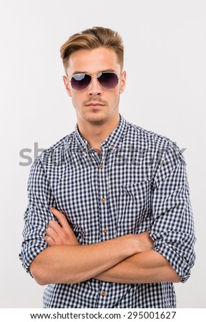 handsome man in glasses - stock photo