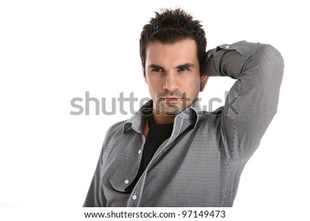 Handsome man in shirt and black scarf - stock photo