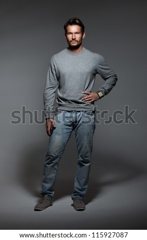 handsome man in studio - stock photo