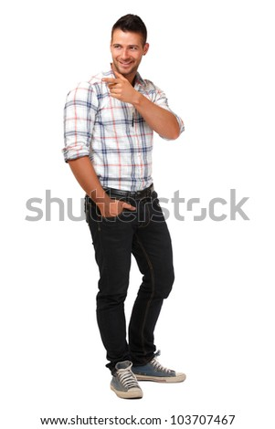 handsome man isolated on white - stock photo