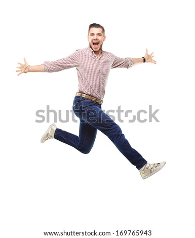 Handsome man jumping  - stock photo