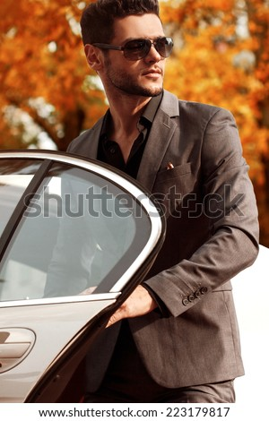 Handsome man near the car - stock photo
