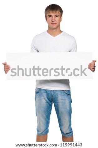 Handsome man portrait with empty white board isolated on white background - stock photo
