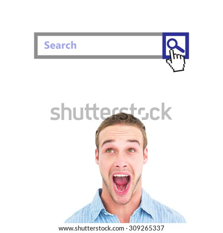 Handsome man screaming out loud against search engine - stock photo