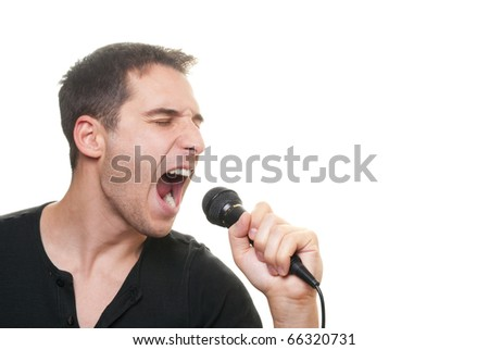 handsome man singing - stock photo