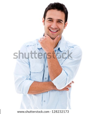 Handsome man smiling looking very happy - isolated over white - stock photo