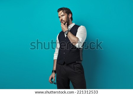 Handsome man thinking  - stock photo